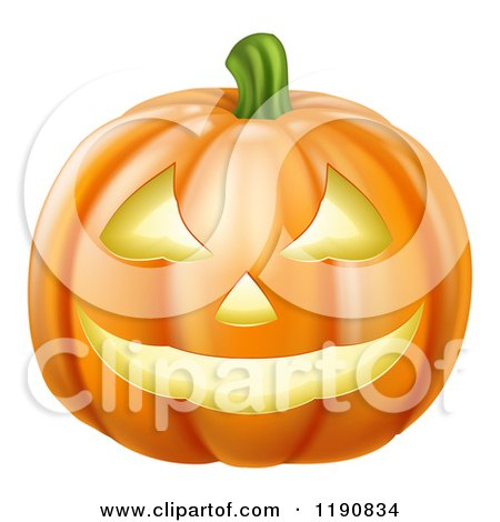 Cartoon of a Grinning Carved Halloween Pumpkin - Royalty Free Vector Clipart by AtStockIllustration