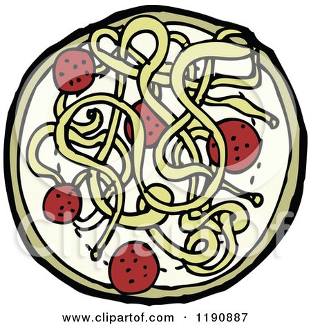 Cartoon of a Plate of Spaghetti and Meatballs - Royalty Free Vector Illustration by lineartestpilot