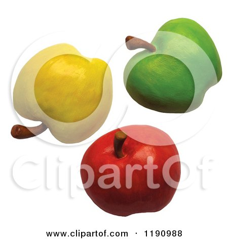 green and red apples clipart. yellow green and red apples on white clipart