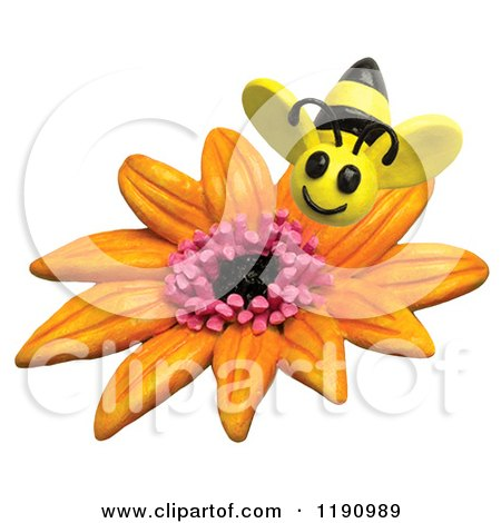 Clipart of a Happy Bee over an Orange Flower, over White - Royalty Free Illustration by Amy Vangsgard