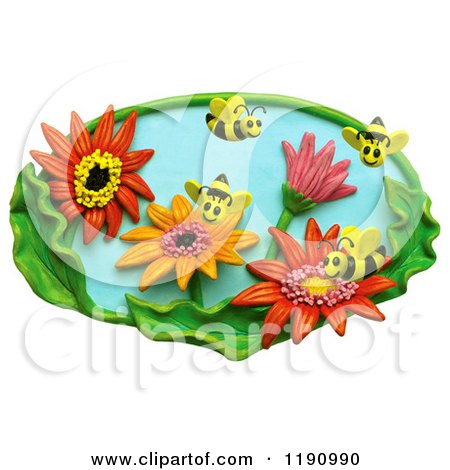Clipart of Happy Bees Pollinating Flowers in a Garden, over White - Royalty Free Illustration by Amy Vangsgard