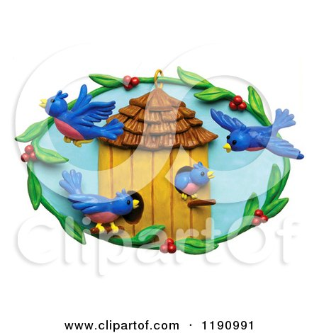 Clipart of Happy Blue Birds and a Berry Frame Around a House, over White - Royalty Free Illustration by Amy Vangsgard