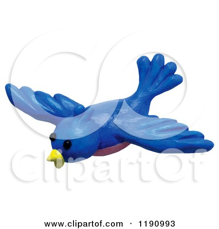 Clipart of a Happy Swooping Blue Bird, over White - Royalty Free Illustration by Amy Vangsgard