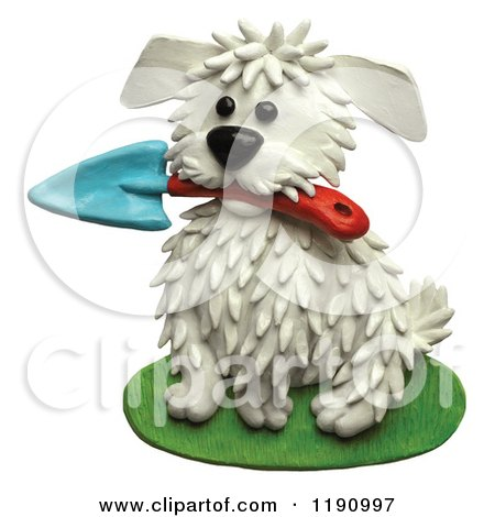 Clipart of a Cute White Dog Sitting with a Gardening Trowel in His Mouth, over White - Royalty Free Illustration by Amy Vangsgard