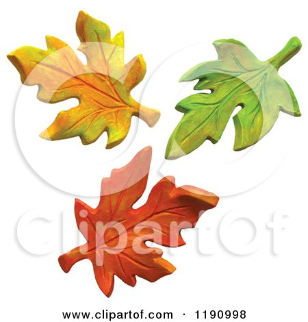Clipart of Yellow Green and Orange Autumn Leaves, over White - Royalty Free Illustration by Amy Vangsgard