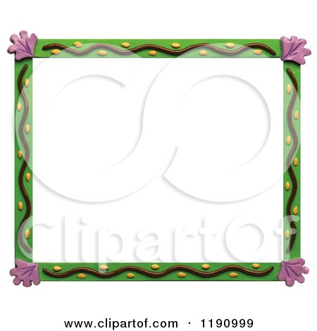 Clipart of a Green Garden Border with Purple Kale Leaf Corners, over White - Royalty Free Illustration by Amy Vangsgard