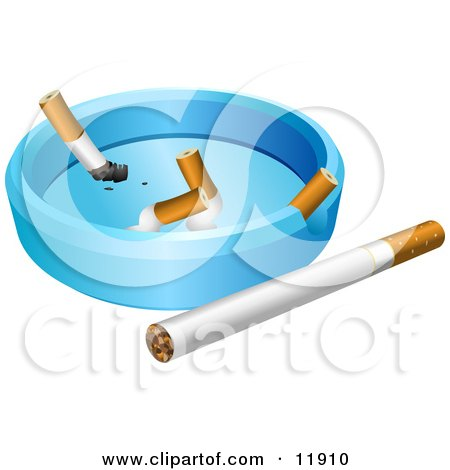 Whole Cigarette by an Ash Tray With Cigarette Butts Clipart Illustration by AtStockIllustration