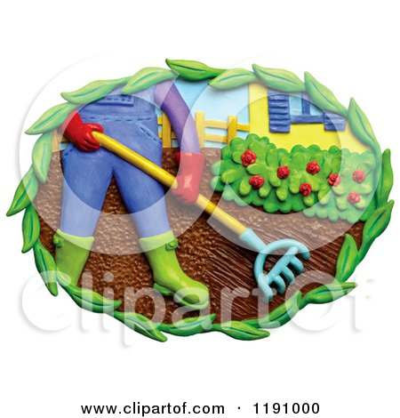 Clipart of a Man Raking a Garden in a Yard, over White - Royalty Free Illustration by Amy Vangsgard