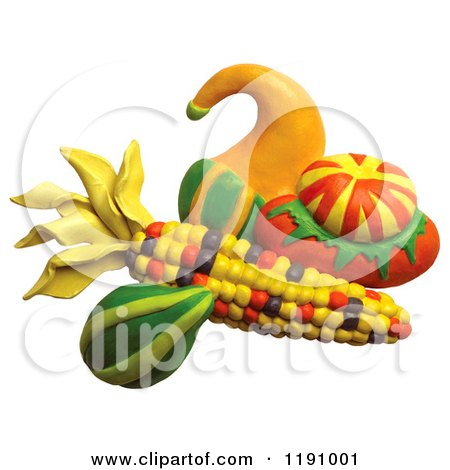 Clipart of a Still Life of Squash and Corn, over White - Royalty Free Illustration by Amy Vangsgard