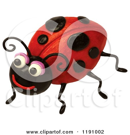 Clipart of a Happy Ladybug Smiling, over White - Royalty Free Illustration by Amy Vangsgard