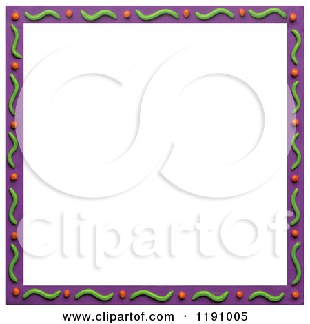 Clipart of a Purple Border with Green Waves and Dots, over White - Royalty Free Illustration by Amy Vangsgard