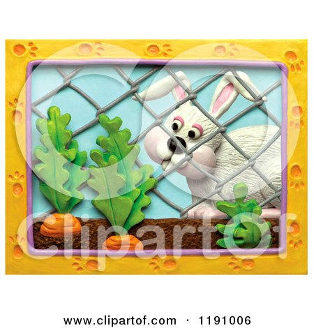 Clipart of a White Rabbit Looking at Carrots Through a Fence, with a Paw Print Frame over White - Royalty Free Illustration by Amy Vangsgard