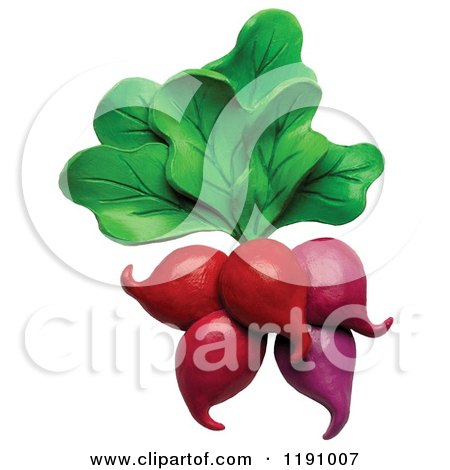 Clipart of a Bunch of Radishes and Greens, over White - Royalty Free Illustration by Amy Vangsgard