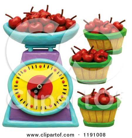 Clipart of a Scale and Bushels of Cherries, over White - Royalty Free Illustration by Amy Vangsgard