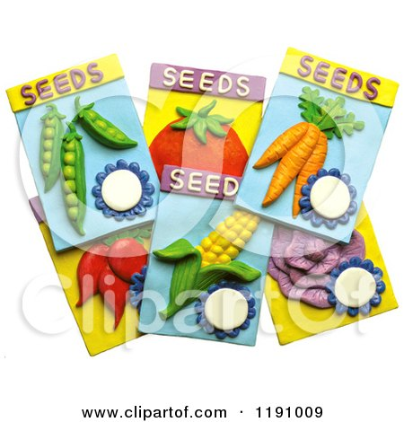 Clipart Of Garden Vegetable Seed Packets, Over White   Royalty Free  Illustration By Amy Vangsgard