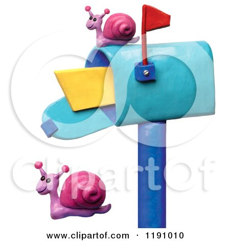 Clipart of a Happy Snails by a Mailbox, over White - Royalty Free Illustration by Amy Vangsgard