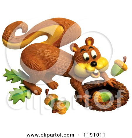 Clipart of a Happy Squirrel Stashing Acorns, over White - Royalty Free Illustration by Amy Vangsgard