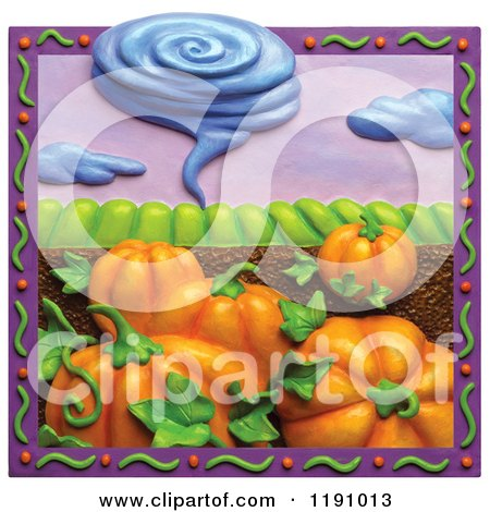 Clipart of a Tornado over Pumpkins and Farmland, in a Purple Border - Royalty Free Illustration by Amy Vangsgard