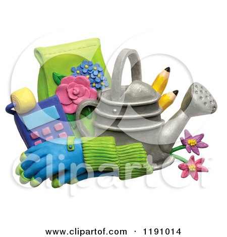 Clipart of a Watering Can with Pencils Gloves and Gardening Tools, over White - Royalty Free Illustration by Amy Vangsgard