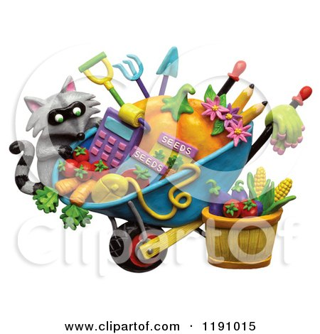 Clipart of a Raccoon and a Wheelbarrow of Gardening Tools and Produce, over White - Royalty Free Illustration by Amy Vangsgard