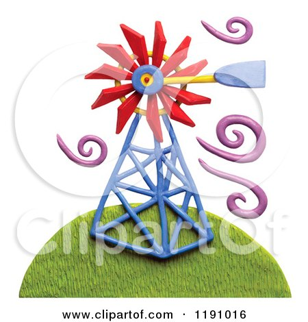 Clipart of a Windmill on a Hill with Purple Breeze Swirls, on White - Royalty Free Illustration by Amy Vangsgard