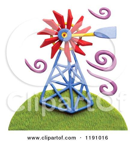 Windmill on a Hill with Purple Breeze Swirls, on White Posters, Art Prints