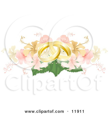 Two Entwined Golden Wedding Rings on a Yellow and Pink Hibiscus Bouquet Posters, Art Prints