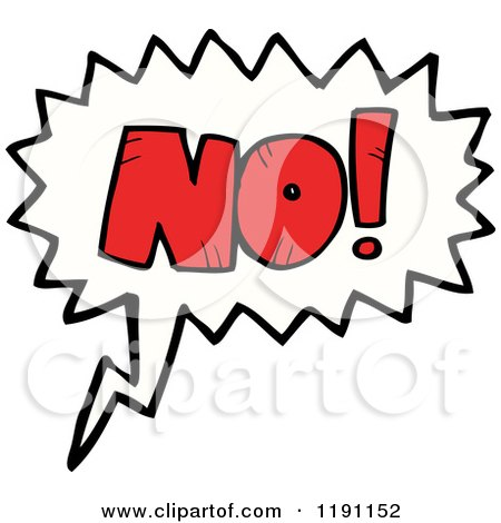 Cartoon of a speaking bubble with the word no royalty for Free clipart no copyright