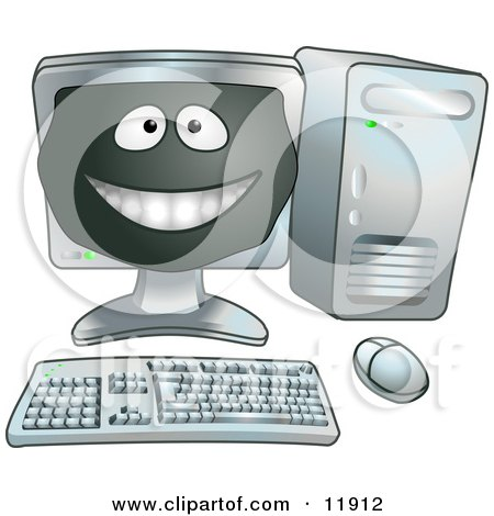 Happy Computer Cartoon Character Clipart Illustration by AtStockIllustration