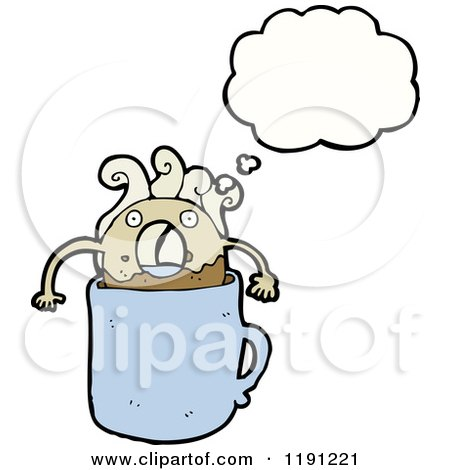 Cartoon of a Donut in a Coffee Cup Thinking - Royalty Free Vector Illustration by lineartestpilot