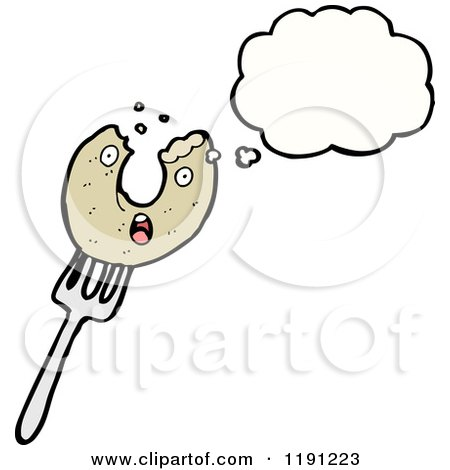 Cartoon of a Donut on a Fork Thinking - Royalty Free Vector Illustration by lineartestpilot