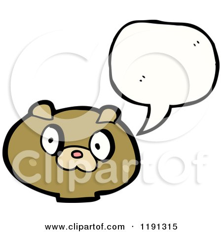 Cartoon of a Teddy Bear's Head Speaking - Royalty Free Vector Illustration by lineartestpilot