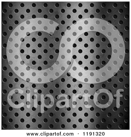 Clipart of a 3d Metal Perforated Plate over Black - Royalty Free CGI Illustration by KJ Pargeter