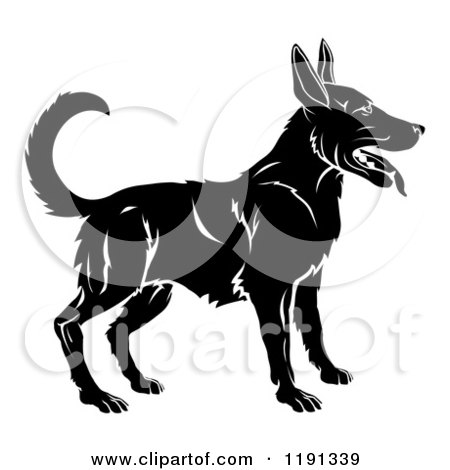 Clipart of a Black and White Chinese Zodiac Dog - Royalty Free Vector Illustration by AtStockIllustration