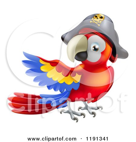 Cartoon of a Presenting Parrot Pirate Wearing a Hat - Royalty Free Vector Clipart by AtStockIllustration