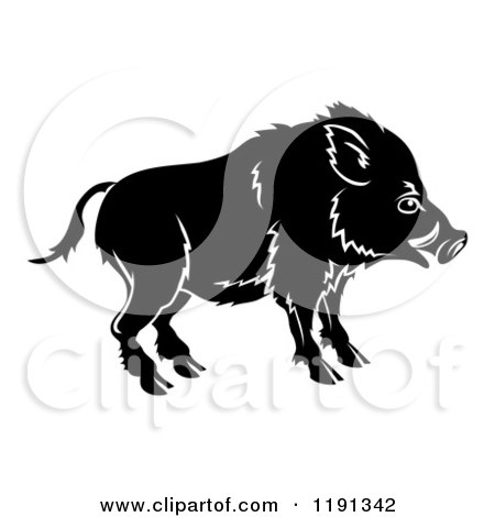 Clipart of a Black and White Chinese Zodiac Boar in Profile - Royalty Free Vector Illustration by AtStockIllustration