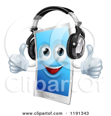 Cartoon of a Happy Touch Screen Cell Phone Mascot Wearing Headphones and Holding Two Thumbs up - Royalty Free Vector Clipart by AtStockIllustration