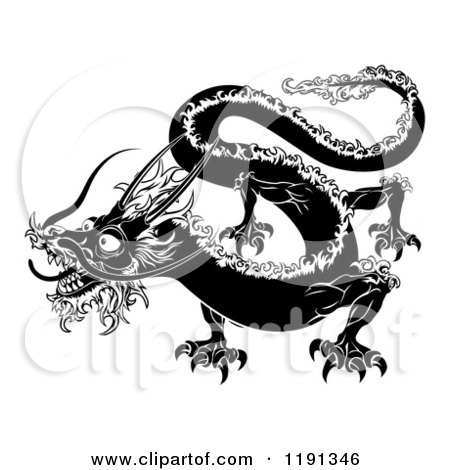 Clipart of a Black and White Chinese Zodiac Dragon - Royalty Free Vector Illustration by AtStockIllustration