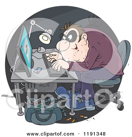 Cartoon of a Hacker Using a Stolen Credit Card to Make Online Purchases - Royalty Free Vector Clipart by Alex Bannykh
