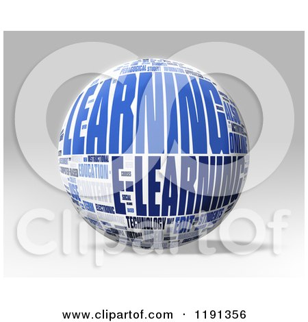 Clipart of a 3d Learning Word Collage Globe over Shading - Royalty Free CGI Illustration by MacX