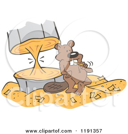 Cartoon of a Beaver Almost Finished Chewing Through a Tree - Royalty Free Vector Clipart by Johnny Sajem
