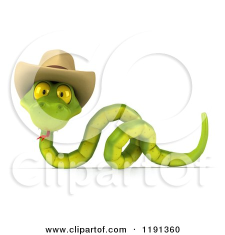 76aa81e27d8 Clipart of a 3d Green Snake Wearing a Cowboy Hat 3 - Royalty Free ...