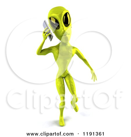 Clipart of a 3d Green Alien Being Using a Cell Phone 2 - Royalty Free CGI Illustration by Julos