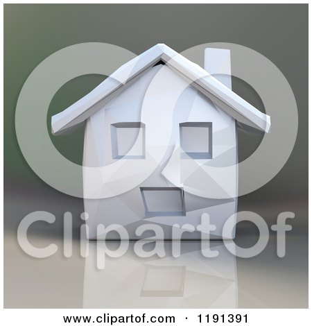 Clipart of a 3d Geometric House over Gradient - Royalty Free CGI Illustration by Julos