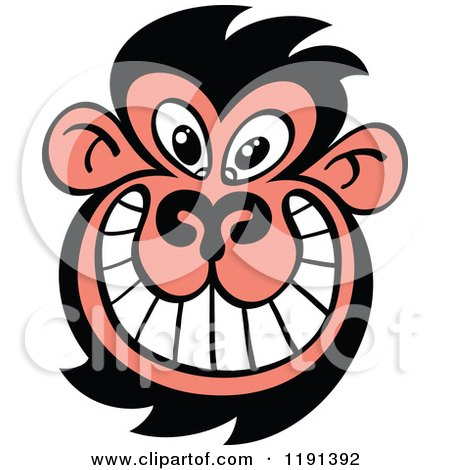 Cartoon of a Grinning Ugly Monkey Face - Royalty Free Vector Clipart by Zooco