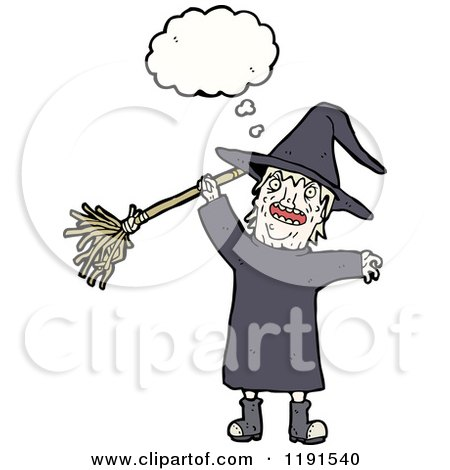 Cartoon of a Witch Thinking - Royalty Free Vector Illustration by lineartestpilot