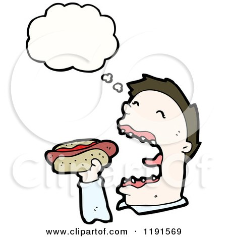 Cartoon of a Man Eating a Hotdog - Royalty Free Vector Illustration by lineartestpilot