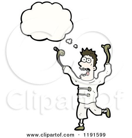 Cartoon of a Crazy Man Thinking - Royalty Free Vector Illustration by lineartestpilot