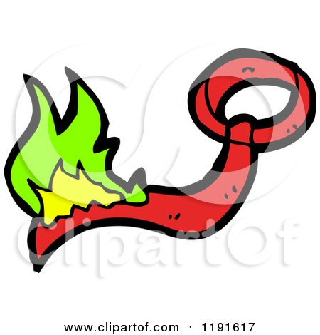 Cartoon of a Flaming Tie - Royalty Free Vector Illustration by lineartestpilot