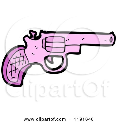 Cartoon of a Pink Handgun - Royalty Free Vector Illustration by lineartestpilot